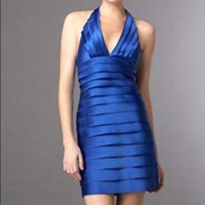 BCBG MaxAzria Tiered Halter Dress - Larkspur